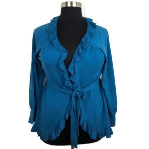 One A Blue Ruffle Wrap Sweater Size 1X
